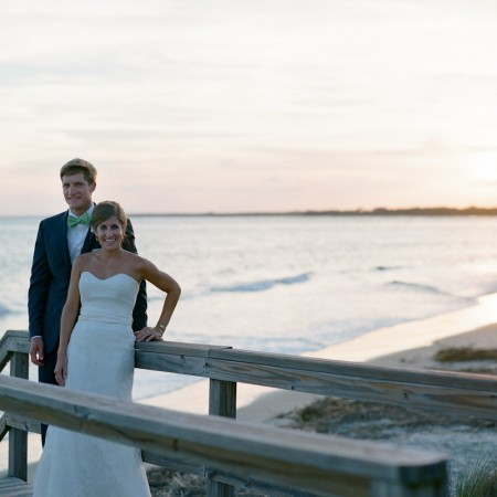 Bride & Groom During Sunset