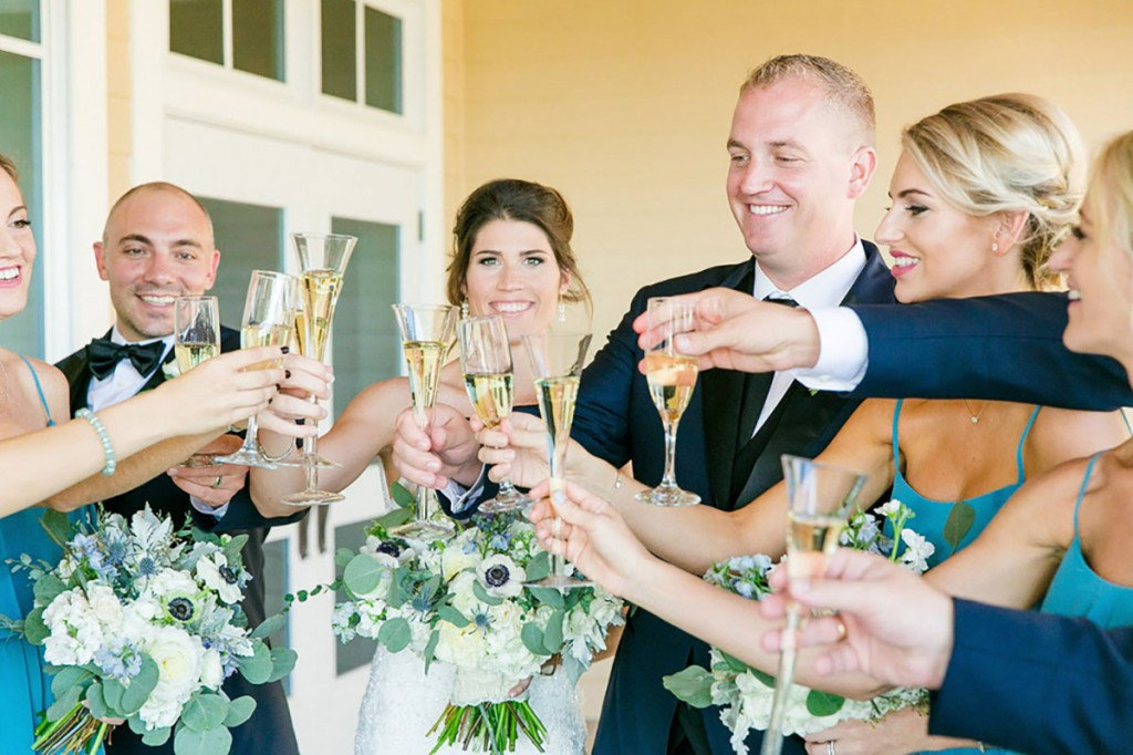 champagne toast with bridal party at south carolina wedding venue