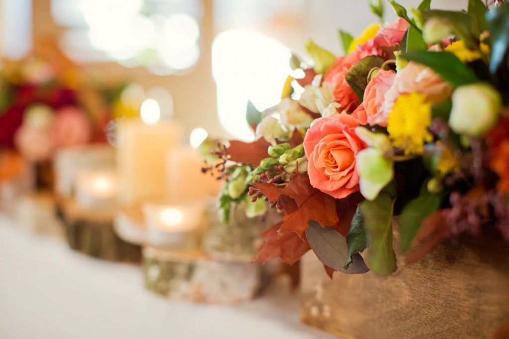 fall wedding table centerpiece at seabrook island club wedding venue