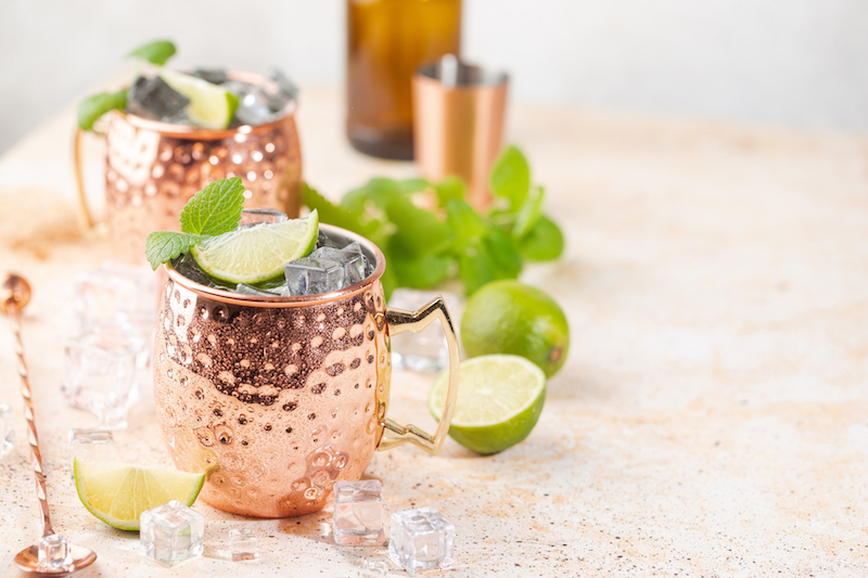 iced moscow mule drink with lime