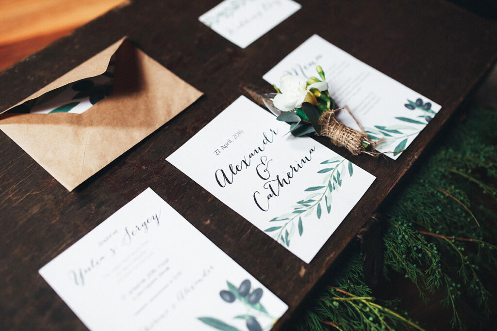 minimalist wedding invitations with greenery at south carolina wedding